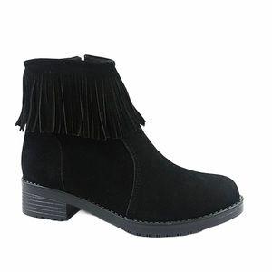 Forever 21 black fringe boho slipon boots size 6